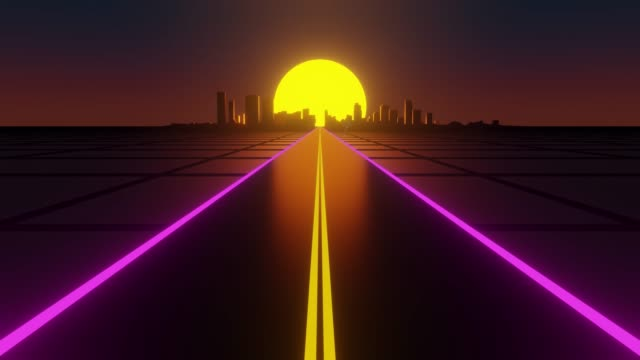 Driving on two-lane road toward distant city with setting sun in background