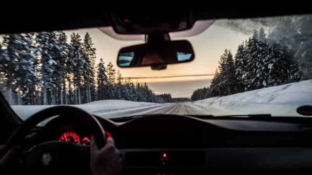 driving on winter road - point of view - car chill video stock e b–roll