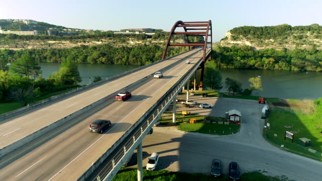 Driving over 360 Bridge or Pennybacker Bridge in Austin Texas