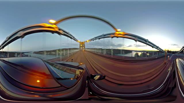 Driving over the Menai Bridge in North Wales towards Bangor - United Kingdom video