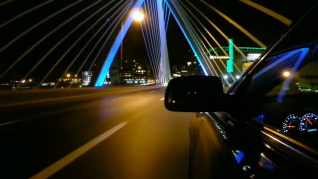 Driving over the Zakim Bridge in Boston, Massachusetts video