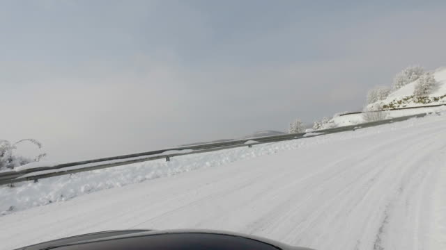 Driving pov on winter road in the morning video