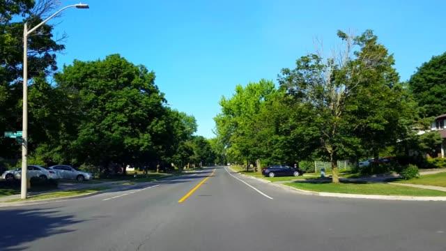 kör residential city road med frodiga träd under sommardagen.  driver synvinkel pov längs vackra soliga suburban street. - bilperspektiv bildbanksvideor och videomaterial från bakom kulisserna