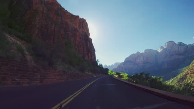 POV driving scenic byway of the Zion National park, Utah video