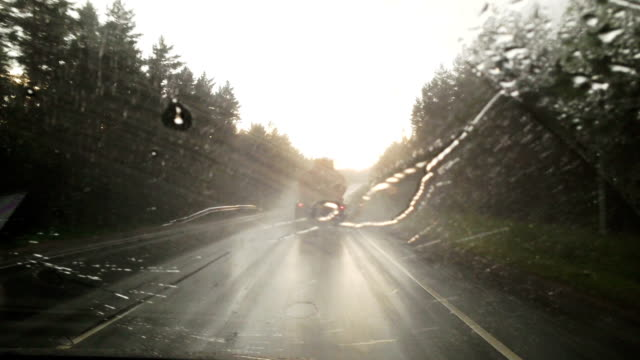 Driving the Car Through Heavy Rain Point of View Windshield video