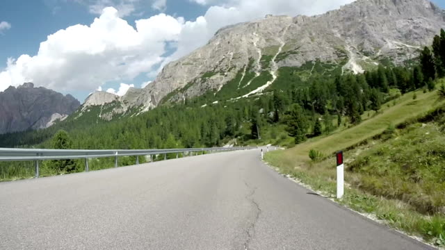Driving through Falzarego Mountain Pass. Dolomites, Italy video