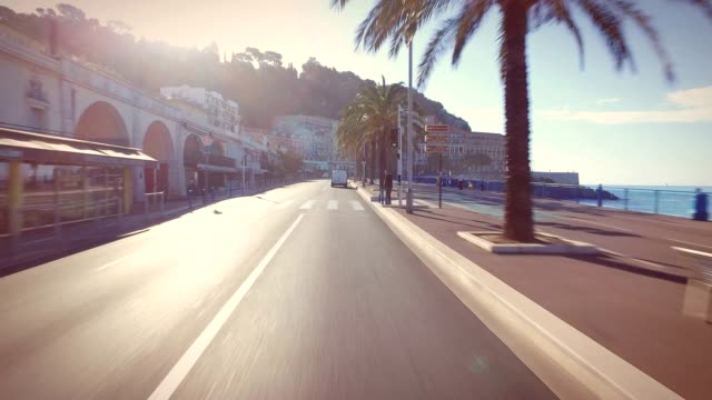 Driving through Nice, France, along Promenade des Anglais