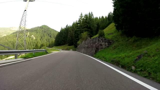Driving through Pordoi Mountain Pass. Dolomites, Italy video