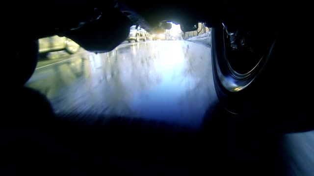 Driving through puddles. Loopable, view under car. 1080p, vj. video