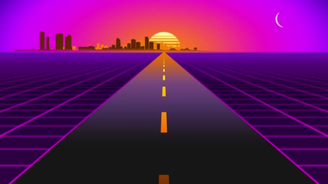 Driving toward sunset with distant city skyline. Retro wave animated grid.
