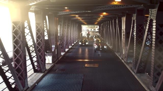Driving under a bridge, Chicago, USA