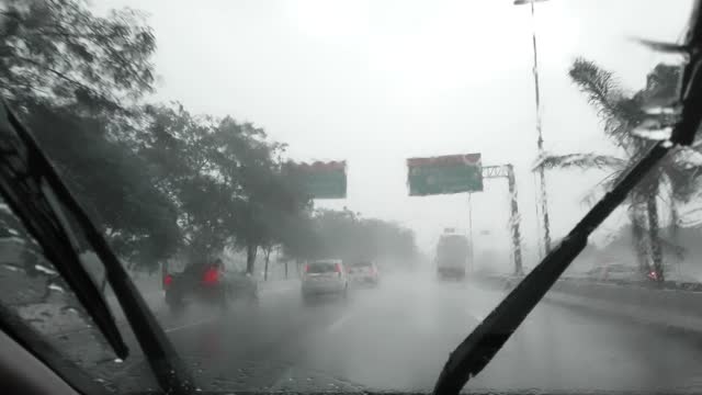Driving under strongly rain. Severe weather. Video taken inside a car. Driving under strongly rain. Severe weather. marginal tiete highway stock videos & royalty-free footage