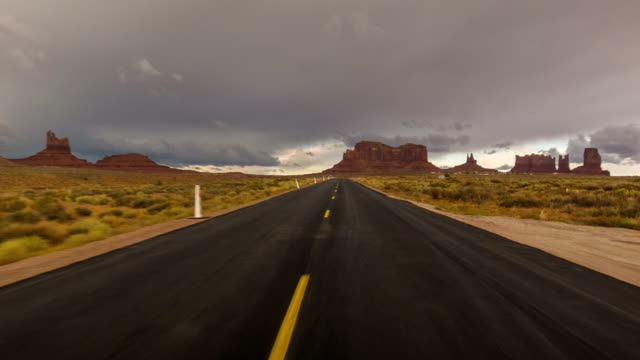 Driving USA: Point of view driving on a lonely desert road, Monument Valley
