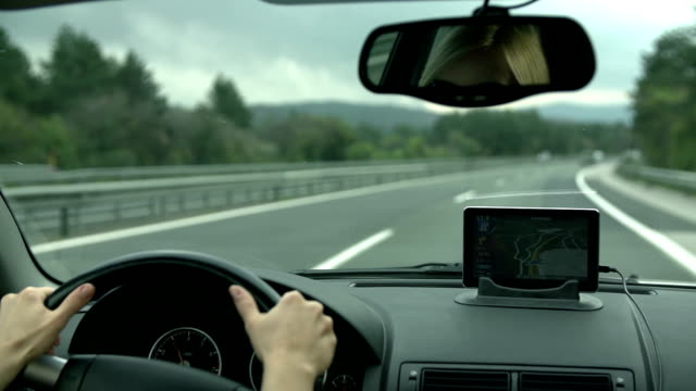 HD SLOW: Driving with GPS device on the dashboard video