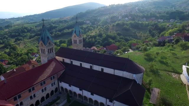 Drone aerial circular view of the Guca Gora church tower in Franciscan monastery, video