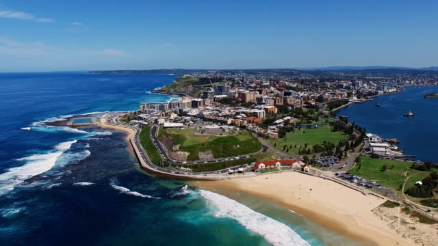 drone aerial fly by shot of fort scratchley in newcastle