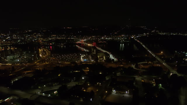 Drone aerial flying towards the Tilikum Crossing Bridge with the Freeway and Ross Island Bridges on either side. video