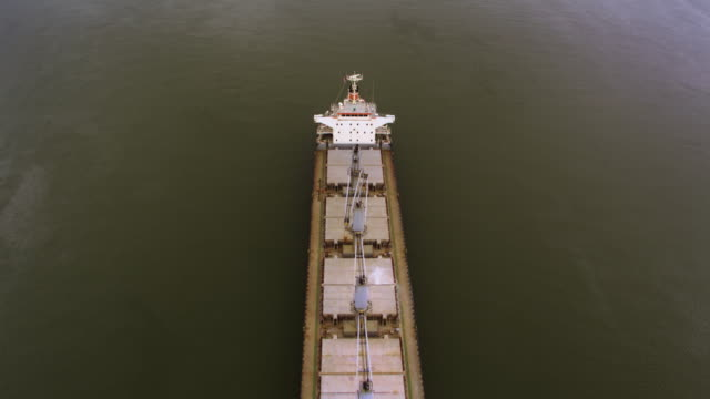 Drone aerial flyover of cargo ship video