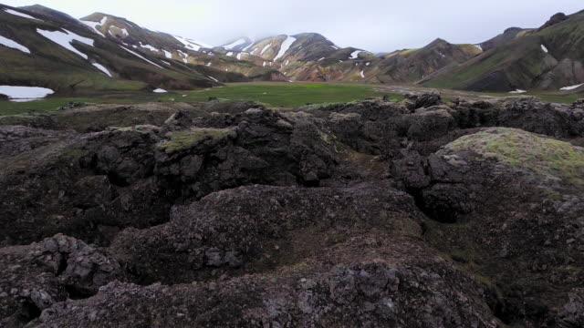 Imágenes aéreas de drones del paisaje de Landmannalaugar en las Tierras Altas de Islandia. - vídeo