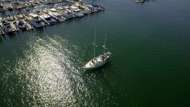 Drone Aerial of a Boat in Harbor video