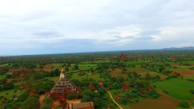 drone aerial of Shwe San Daw Pagoda and temple background video