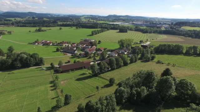 Drone aerial of small German village from high elevation video