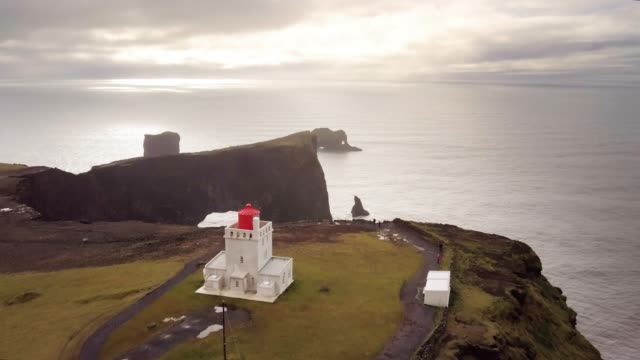 drone aerial shot of amazing landscape in iceland - fiordo video stock e b–roll