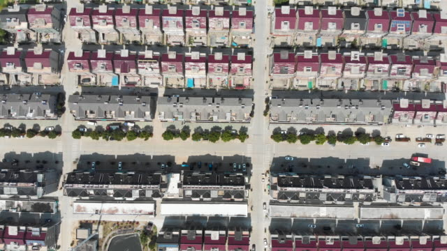 Drone aerial shot of rows of townhouses in suburban China.