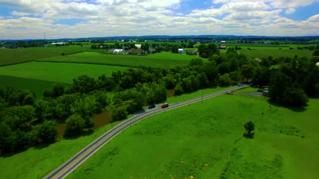 Drone aerial through Amish Countryside