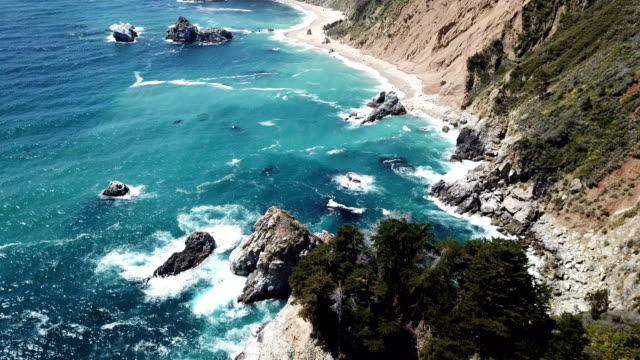 4K Drone aerial video of the California coastline with mountains by Big Sur