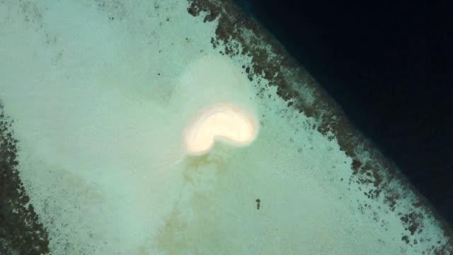 Drone Aerial View Maldives Atoll Heart Shape Sand Bank video