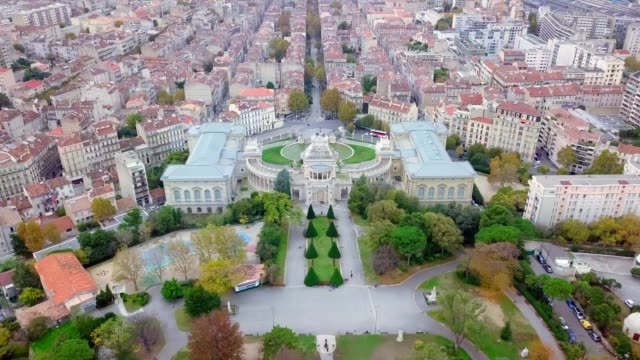 drone aerial view of Natural History Museum of Marseille The Muséum d'histoire naturelle de Marseille or Natural History Museum of Marseille was founded in 1819 by Jean-Baptiste, marquis de Montgrand.