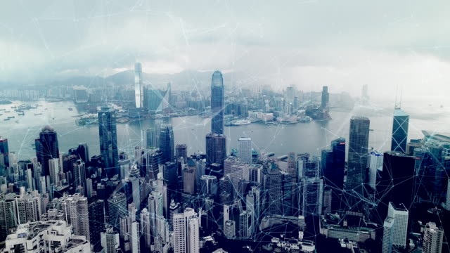 4K Drone and Network technology in communication is a spider web, The background is the view of Hong Kong.