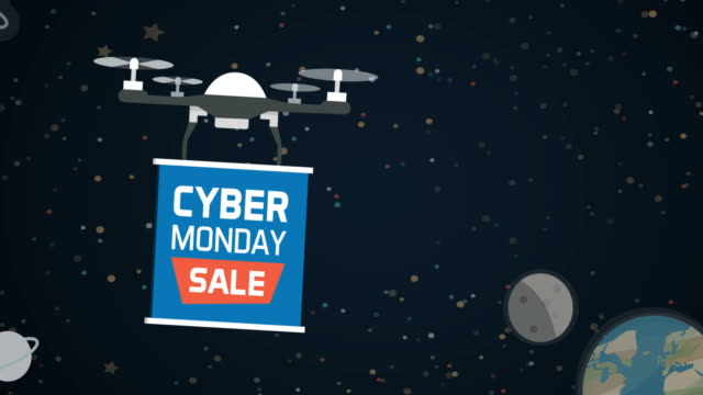 Drone carrying a cyber monday advertisement sign Drone carrying a cyber monday advertisement sign in the outer space cyber monday stock videos & royalty-free footage
