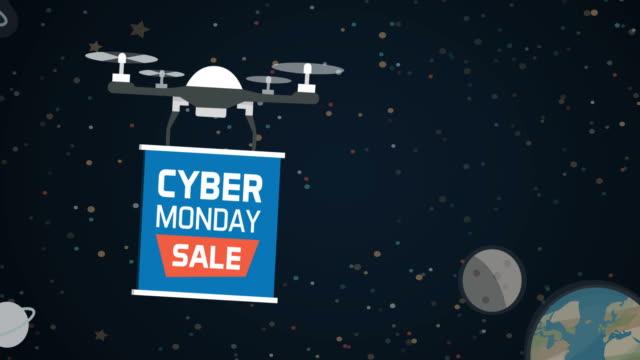дрон проведения кибер понедельник рекламный знак - cyber monday стоковые видео и кадры b-roll