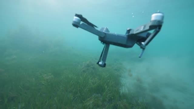 drohne stürzte langsam sinkend unter wasser fallen in den meeresboden. - schilf stock-videos und b-roll-filmmaterial