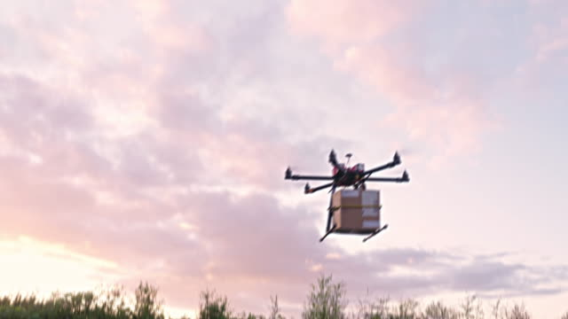 Drone delivering parcel video