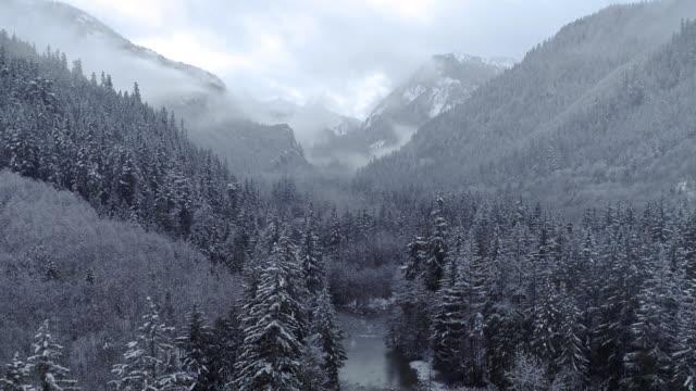雪に覆われたマウンテンバレー川ブーメランのドローンドリーズーム ビデオ