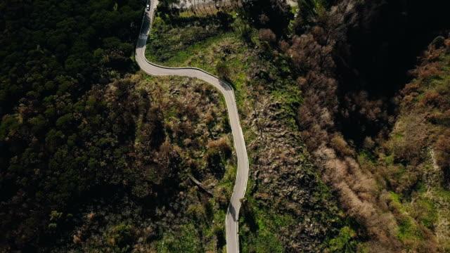 Drohne fliegt über schmale Bergstraße. Top Blick auf Wald Einfahrt öffnen an vorbeifahrende Autos und Gebäuden. 4K – Video