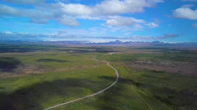 Drone flies above volcanic area in Iceland