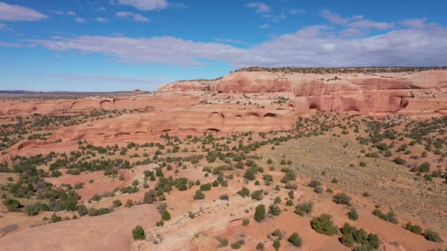 Drone Flies Near The Orange Stone Arrays Rock Formations In Desert Of Usa