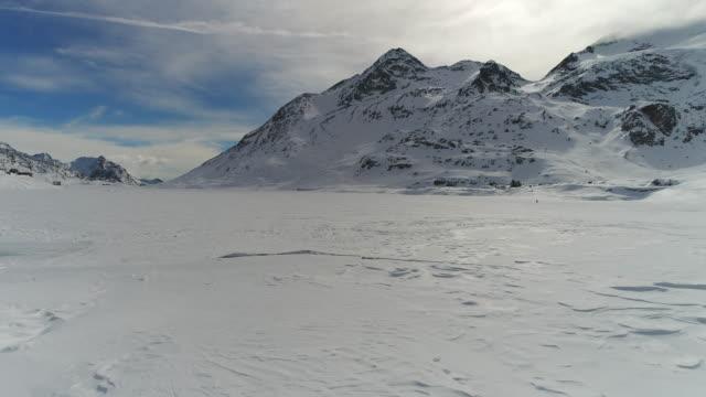 Drone flies over frozen mountain lake