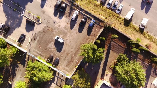 drone flies over the parking lot.  Rome Italy, Centochele district
