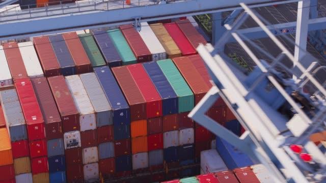 Drone Flight Along Gantry Crane Boom in Port video