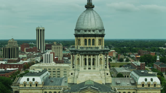 Drone Flight Around Dome of Illinois State Capitol with Downtown Springfield Beyond video