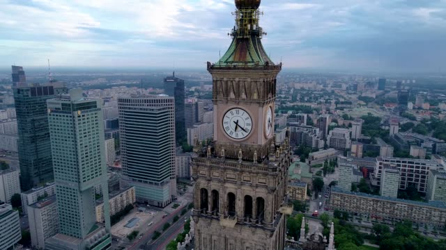 drone flight around palace of culture and science in warsaw - polonia video stock e b–roll