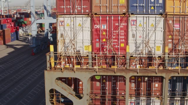 Drone Flight Around Stern of Container Ship video