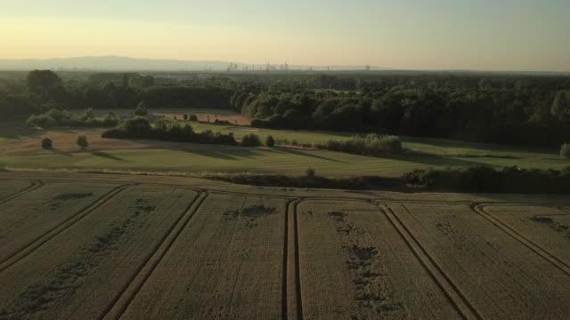 Drohnenflug bei Sonnenuntergang über Weizen Feld und Golf Court mit Stadt im Hintergrund – Video