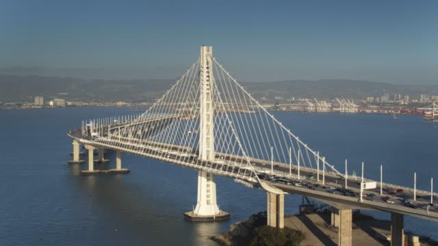 Drone Flight from Yerba Buena Island Towards the Bay Bridge and Oakland, California video