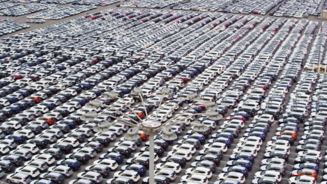 Drone Flight of Yard Full of New Cars video